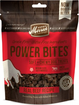 Merrick Power Bites Real Texas Beef Recipe Grain-Free Soft & Chewy Dog Treats, 6-oz bag
